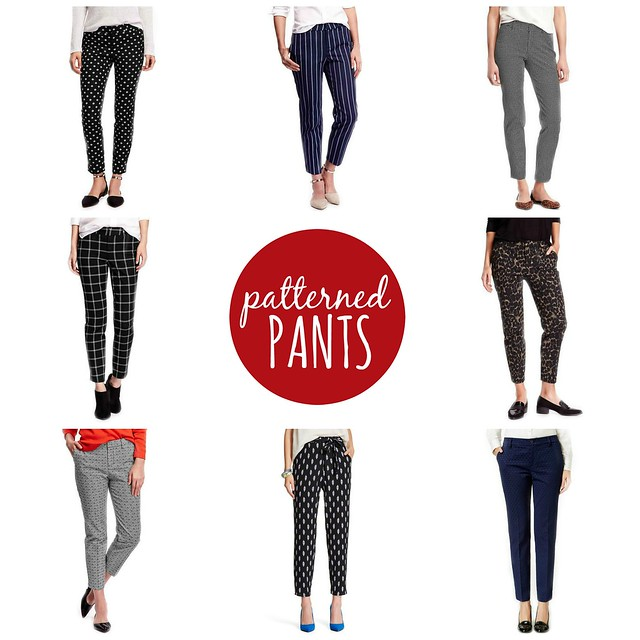on trend patterned and printed pants