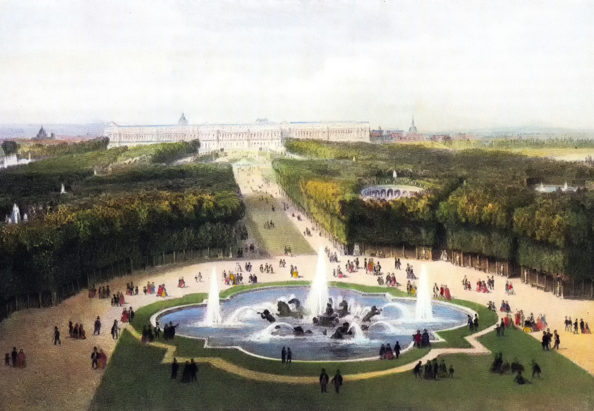 View over the palace gardens and the palace at Versailles in c.1860