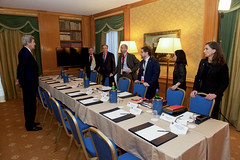 U.S. Secretary of State John Kerry speaks with staff members on December 2, 2016, at the Parco dei Principe Hotel in Rome, Italy, before a bilateral meeting with Russian Foreign Minister Sergey Lavrov on the sidelines of an Italian-hosted multinational meeting focused on Mediterranean issues. [State Department photo/ Public Domain]