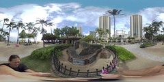 The Wizard Stones of Kapaemahu at Waikiki Beach Center, Waikiki, Hawai'i - a 360 degree Equirectangular VR