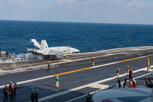 Mon, 02/13/2017 - 09:08 - 170213-N-MU198-129 MEDITERRANEAN SEA (Feb. 13, 2017) An F/A-18F Super Hornet attached to the 'Tomcatters' of Strike Fighter Squadron (VFA) 31 launches from the aircraft carrier USS George H.W. Bush (CVN 77). The George H.W. Bush Carrier Strike Group is conducting naval operations in the U.S. 6th Fleet area of operations in support of U.S. national security interests. (U.S. Navy photo by Mass Communication Specialist 3rd Class Danny Ray Nunez Jr./Released)