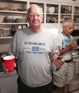 Gerry Foster enjoys refreshments at the August 2015 NRMRC meeting hosted by Joel McCurry