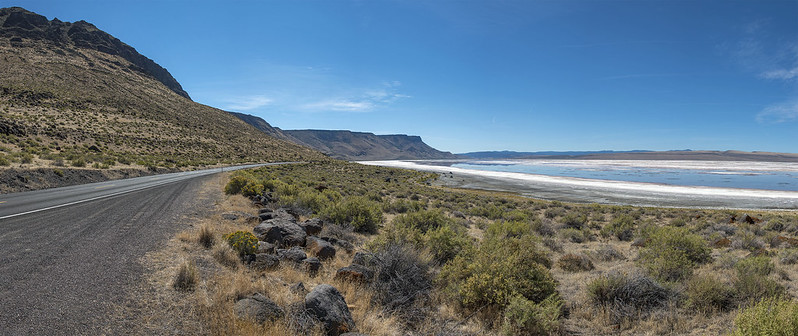 7-photo photomerge of Abert Rim and what's left of Lake Abert