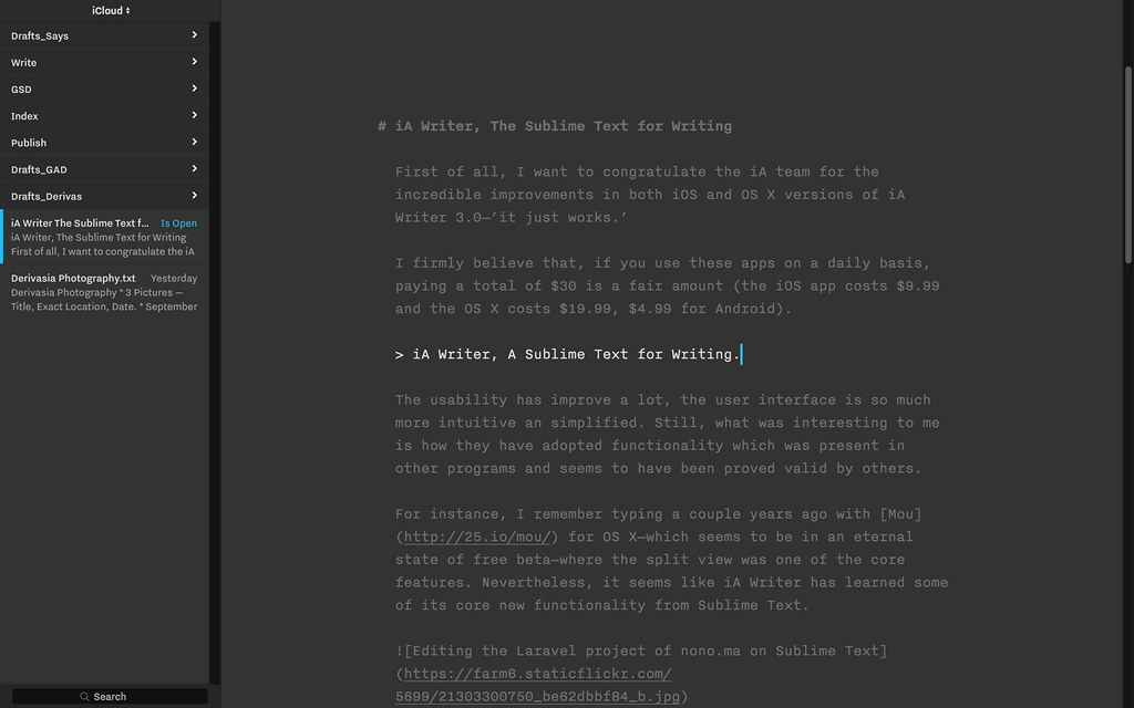 iA Writer 3.0 using Focus, Night, and Typewriter modes, and displaying the new Library feature.