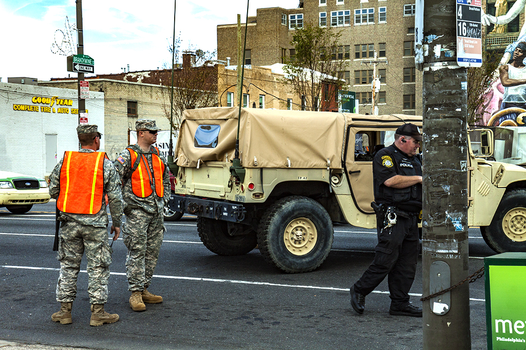 Soldiers for Pope Francis on 9-25-15--Broad and Spring Garden