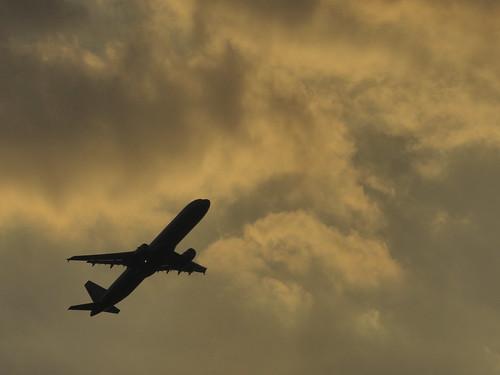 飛行機の離陸 羽田空港