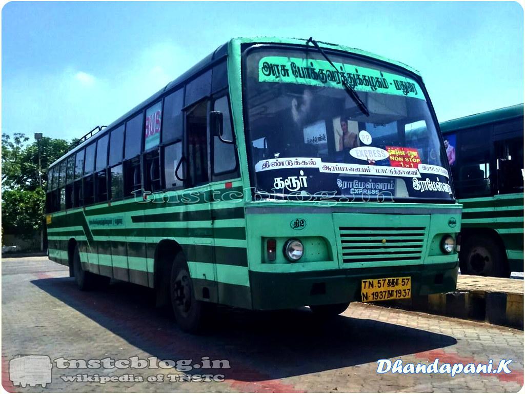 TN-57N-1937 of Dindigul 2 Depot Route Karur Rameswaram via Dindigul, Madurai, Ramanathapuram.