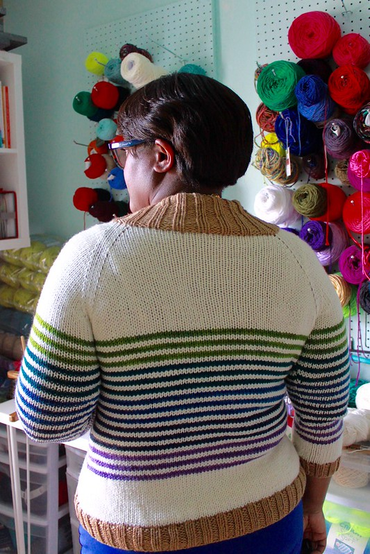 Custom gradient striped cardigan