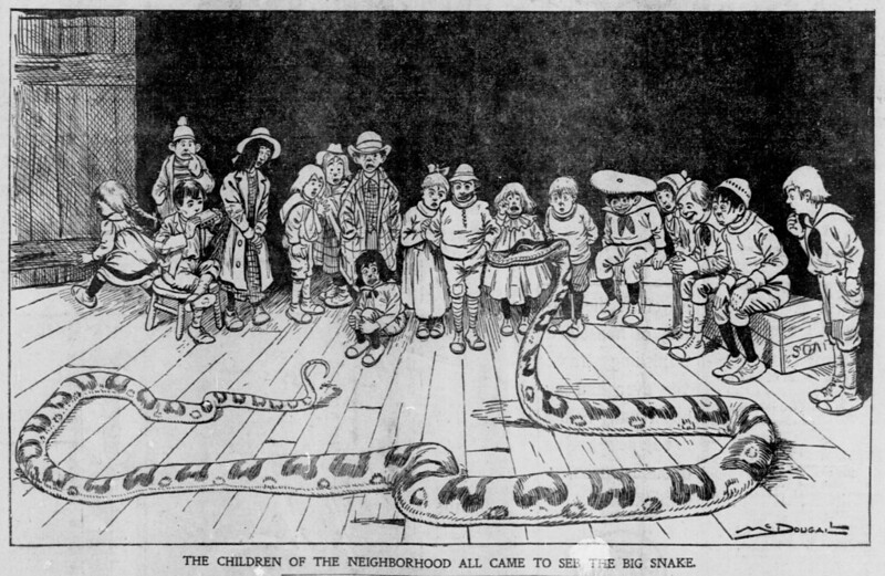 Walt McDougall - The Salt Lake herald., April 27, 1902, The Children Of The Neighborhood All Came To See The Big Snake