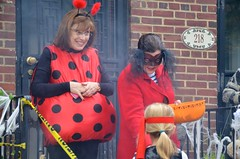 Ladybug And Lady In Red Give Out Candy