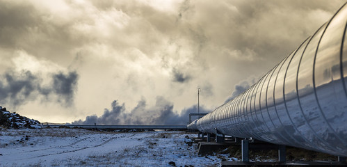 snow plant hot cold water fog clouds sunrise iceland energy industrial power earth steam heat reflexion geothermal pipeline