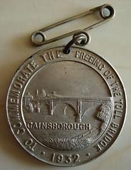 Gainsborough toll bridge freeing medal obverse