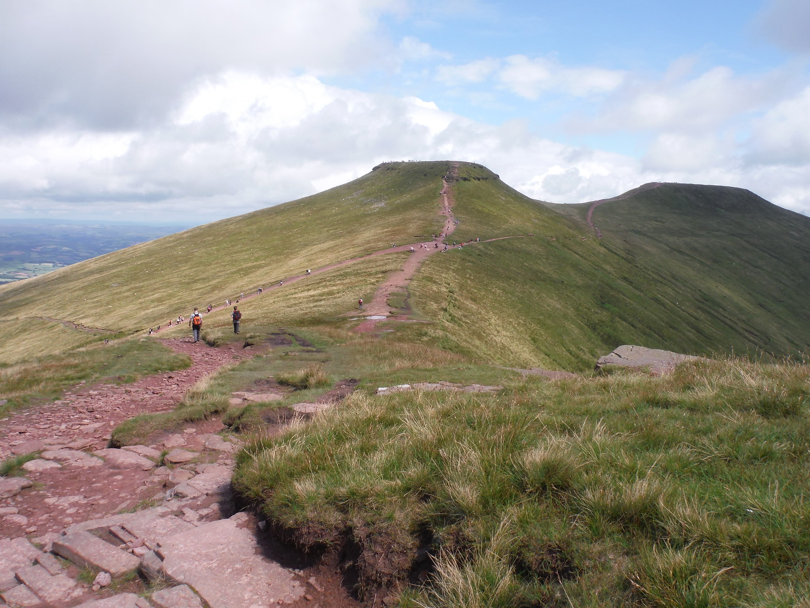 Corn Du and Pen y Fan (Ascent Route from A470 joins from left) SWC Walk 278 Breacon Beacons Horseshoe - Bannau Brycheiniog