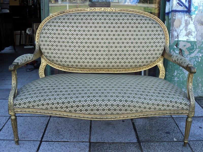 sof silln estilo francs luis xvi oval dorado a la hoja en mercado libre