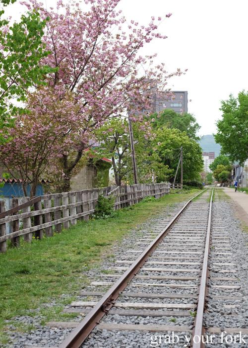 Disused Temiya railway track in Otaru, Hokkaido