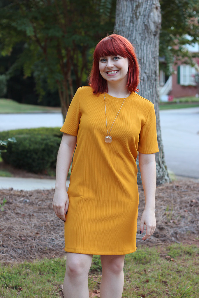 Forever 21 Yellow Retro Style Shift Dress with an Apple Necklace and Red Hair