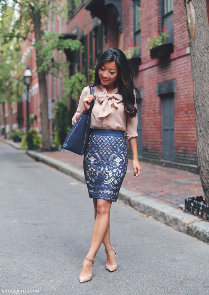 ann taylor lace skirt work outfit 2