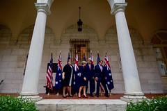 U.S. Secretary of State John Kerry and U.S. Defense Secretary Ash Carter escort their Australian counterparts - Foreign Minister Julie Bishop and Defense Minister Marise Payne - after posing for a group photo on October 13, 2015, at the Boston Public Library in Boston, Massachusetts, before their annual AUSMIN diplomatic and defense meetings. [State Department photo/ Public Domain]