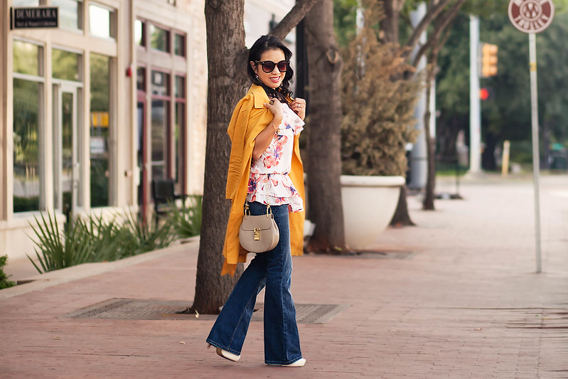 cute & little blog | petite fashion blog | mustard drapey trench, plum society off-shoulder ruffle blouse, flare jeans, chloe drew bag | fall outfit