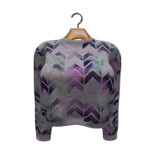 {MYNX} Cropped Sweater - Purple Chevron