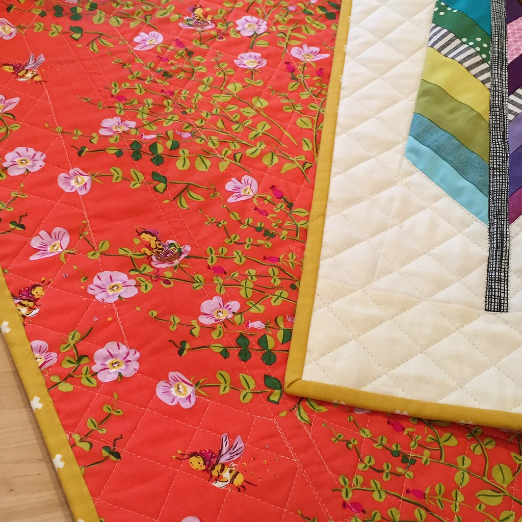 mini rainbow feather quilt