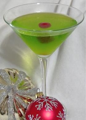 Liked on Pinterest: Christmas cocktail recipes: The Grinch. Add a cherry and a little candy heart to the side of the glass. so cute