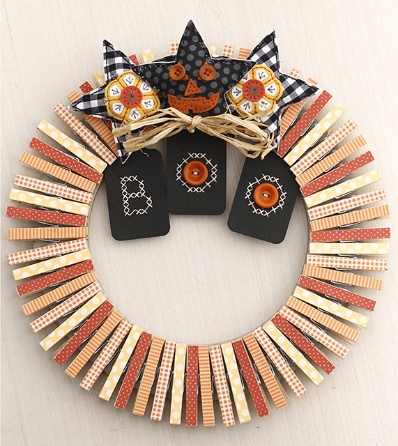 Fall Clothes Pin Wreath using the Papertrey Ink Beaded Stitch Kit and Halloween Pin Ups