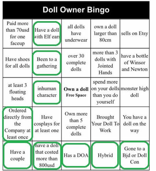 Doll Owner bingo