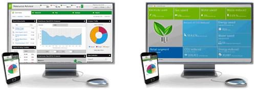 Giao diện phần mềm quản lý năng lượng tòa nhà StruxureWare Resource Advisor.