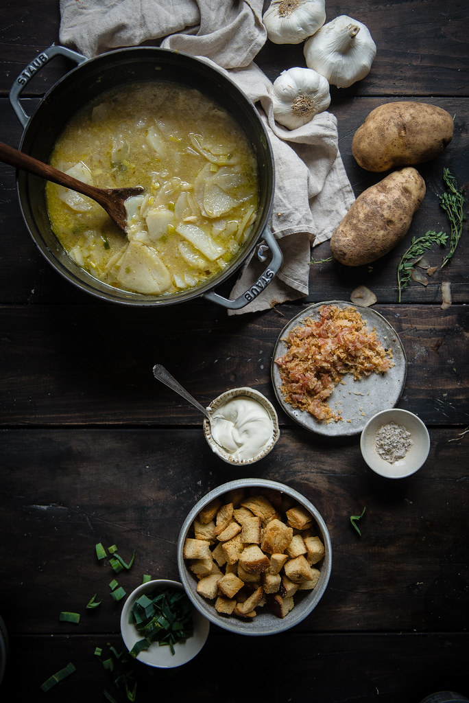 potato, garlic, & leek soup | two red bowls