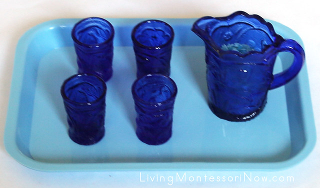 Blue Glass Pouring Set + Medium-Size Tray from Montessori Services
