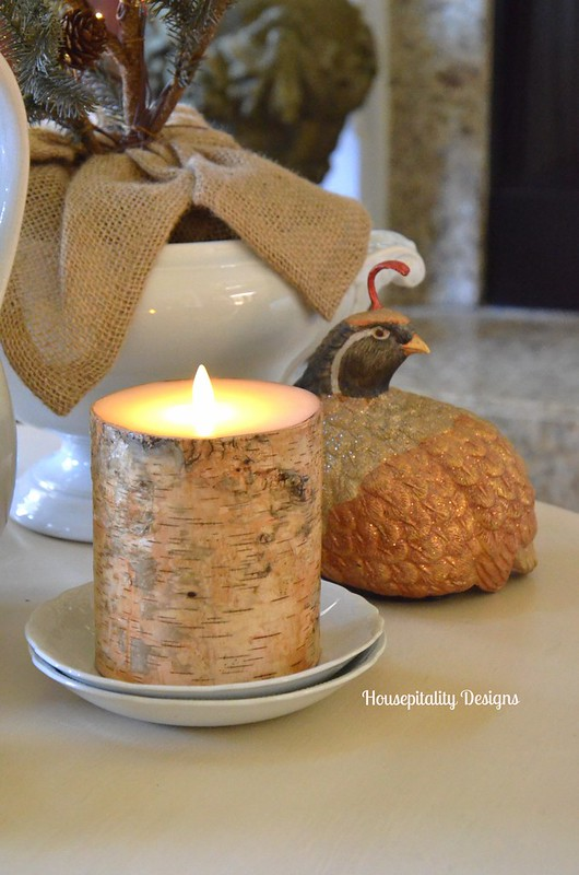 Ironstone vignette with Luminara Candle - Housepitality Designs