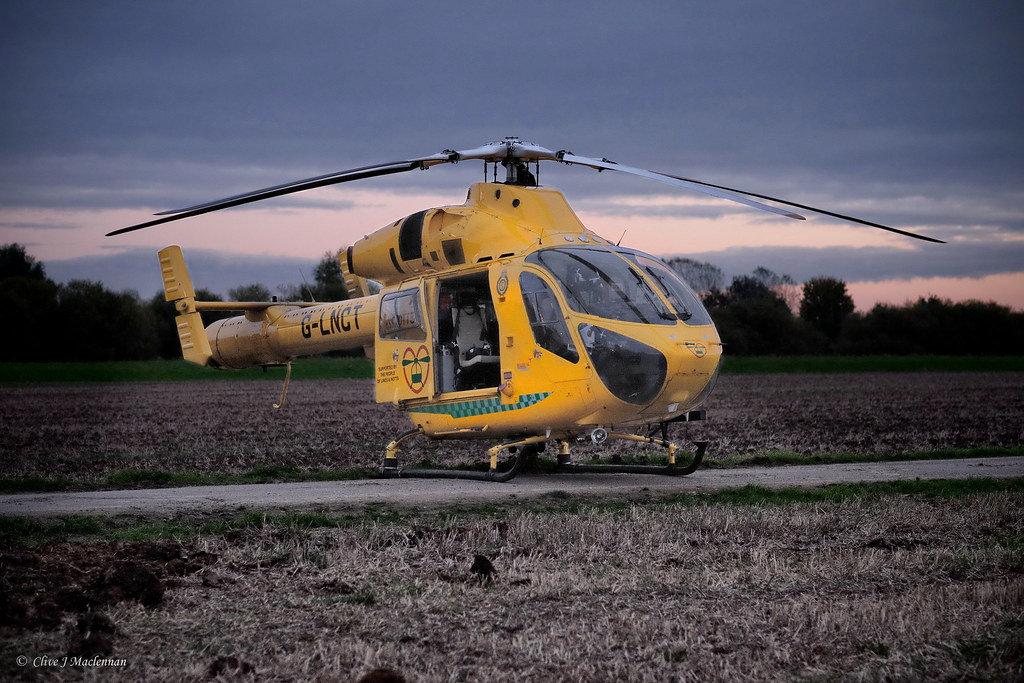 Lincs and Notts air ambulance awaiting casualty transfer.