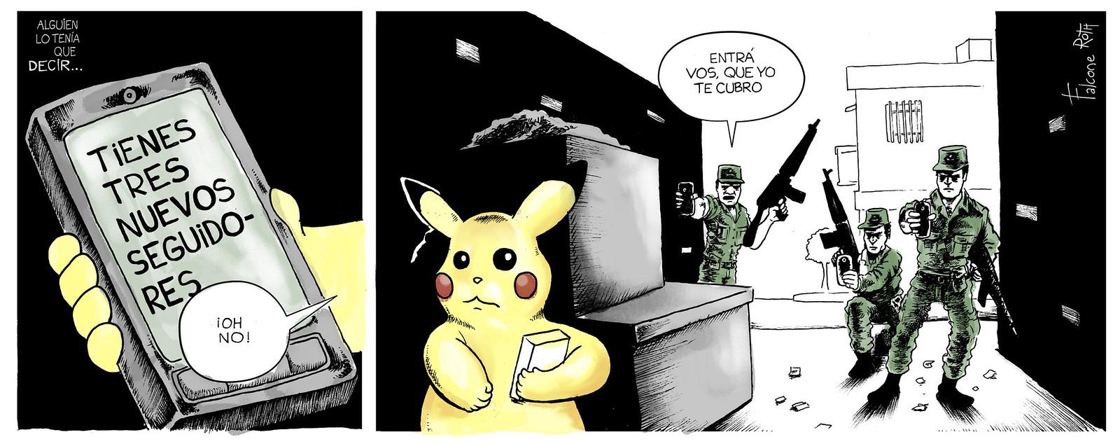gendarmes siguiendo a Pokemon
