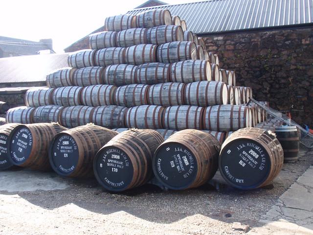 Casks at Springbank distillery