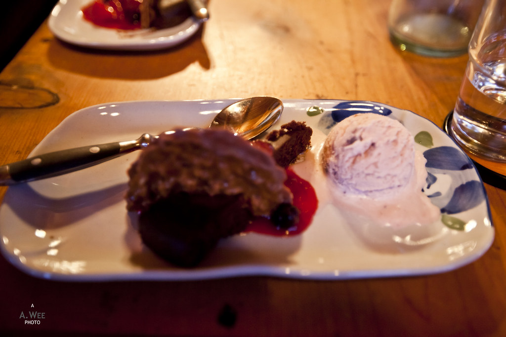 Chocolate cake and homemade yam ice-cream