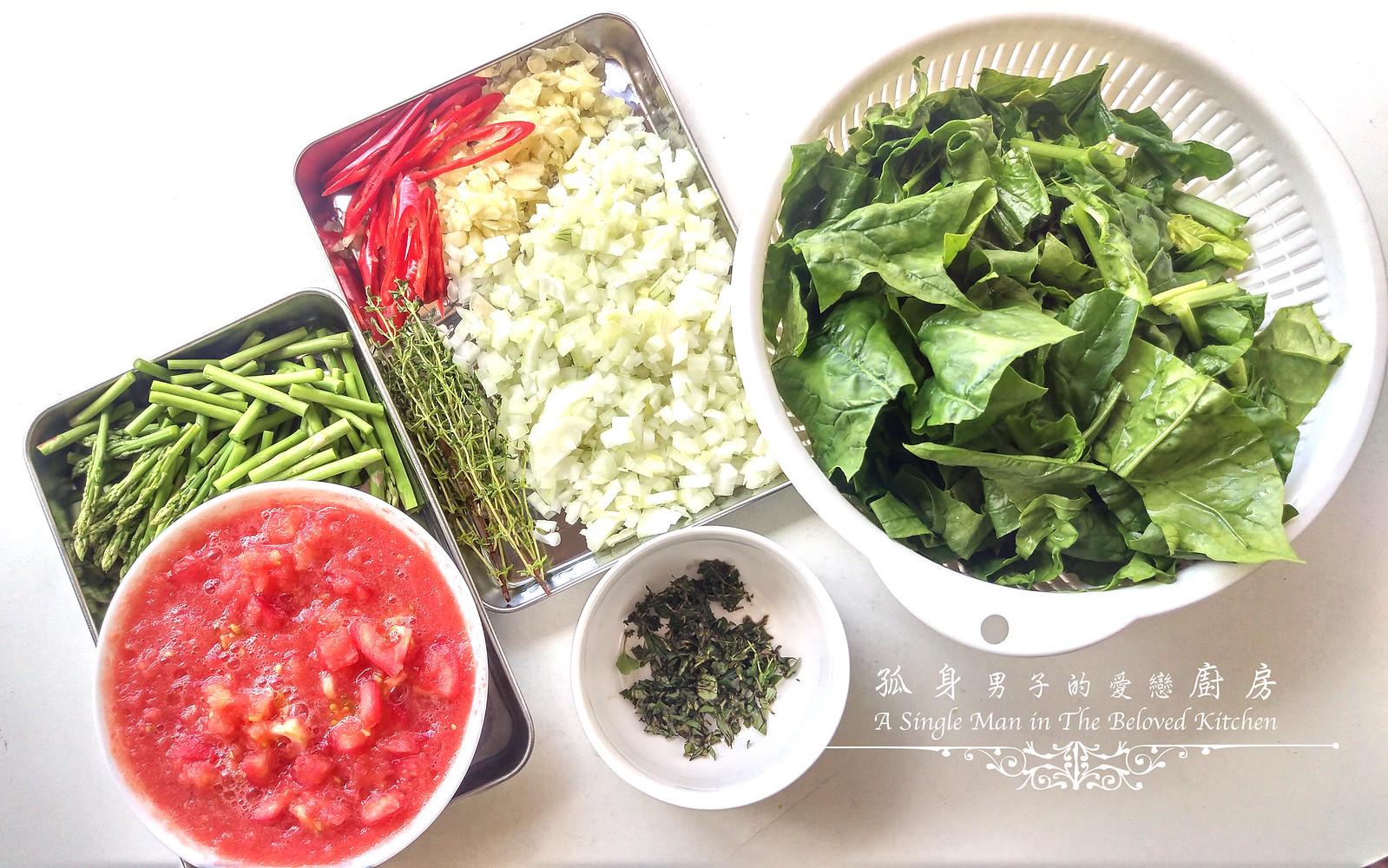 孤身廚房-一鍋到底!香辣蕃茄蘆筍菠菜細扁麵5