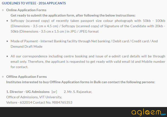VITEEE 2016 Application Form
