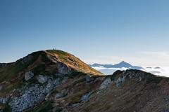 白馬山頂宿舎の稜線上より