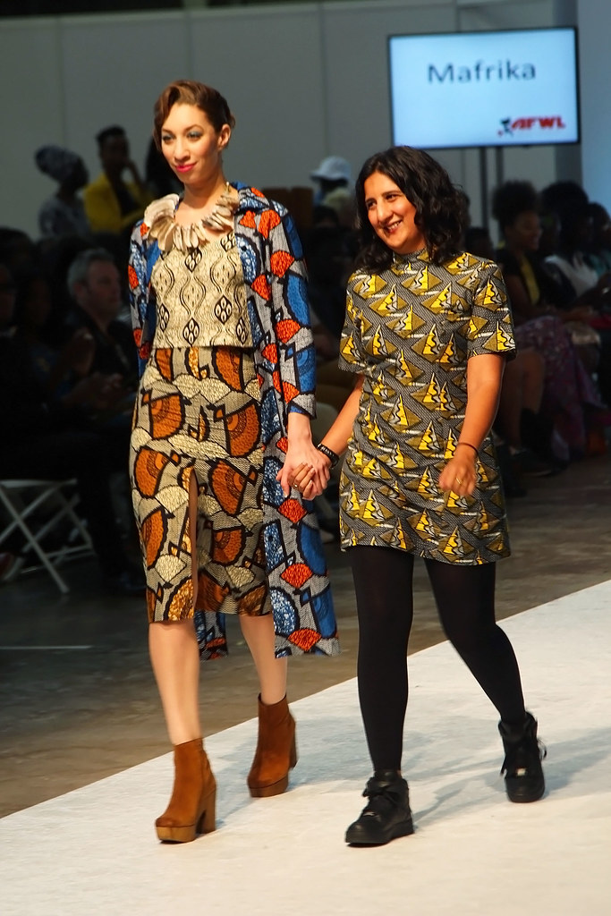 Mafrika-collection-at-AFWL2015, 'kitenge' loose wide leg trousers with matching crop top, kitenge/ankara long coat, high waist midi length skirt, Africa print kaftan top with leggings and  kitenge shirt dress