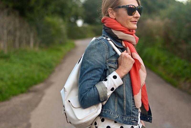 Casual weekend wear | Denim jacket with scarf, polka dots