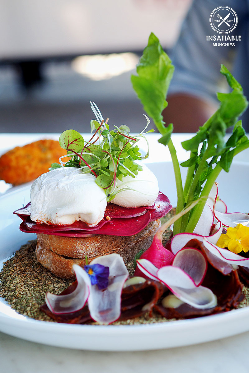 Sydney Food Blog Review of Danno's, Dee Why: Egyptian Poached Eggs, Bastourma, Za'atar, Kale, Sweet Potato Croquet, $17