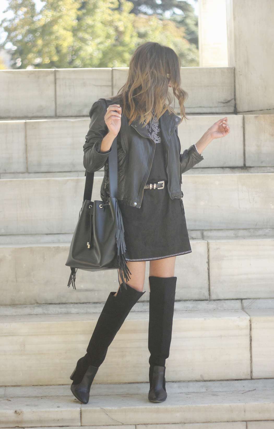Black Leather jacket With Suede Black Dress Over the knee boots18