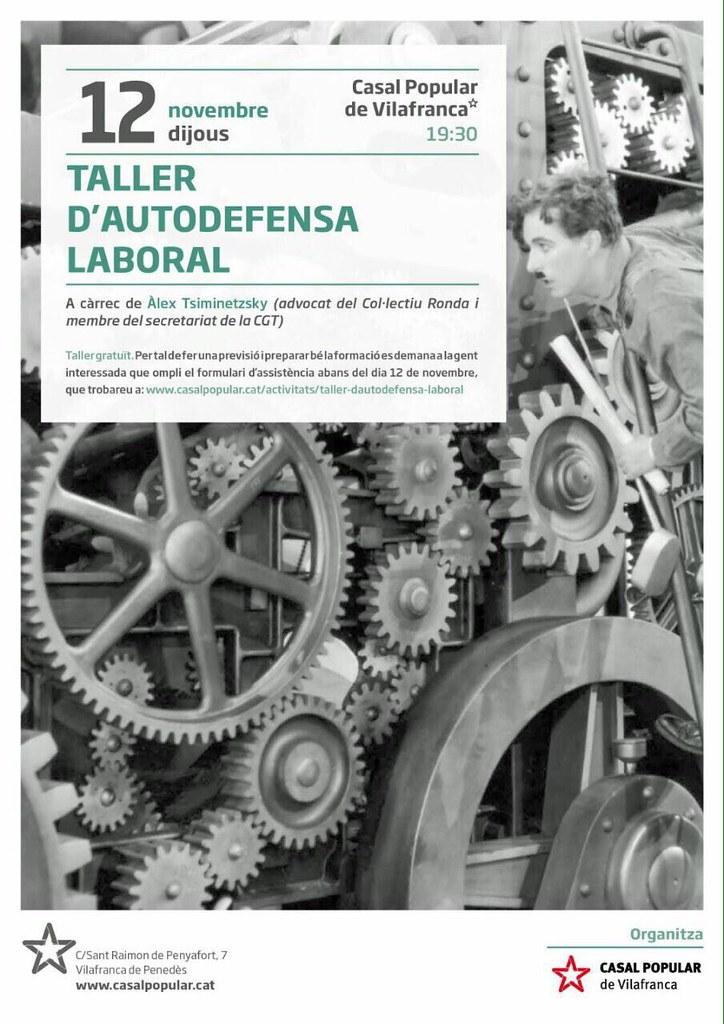 Taller d'autodefensa laboral el 12 de novembre a Vilafranca del Penedès a càrrec d'Àlex Tisminetzsky, Secretari de Salut Laboral de CGT Catalunya