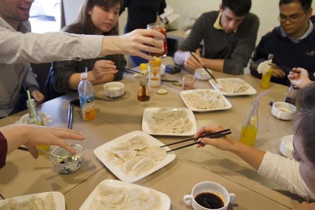 Making dumplings at Midori