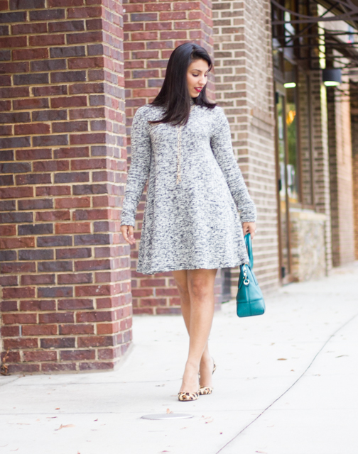 Marled Grey Sweater Dress, Stila Beso Lip Color, Vera Bradley Y Tassle Necklace, Leopard Heels, BCBG Leopard Heels, Grey Dress