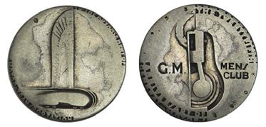 Lot 608 General Motors Silver Anniversary Men's Club Medal, 1933