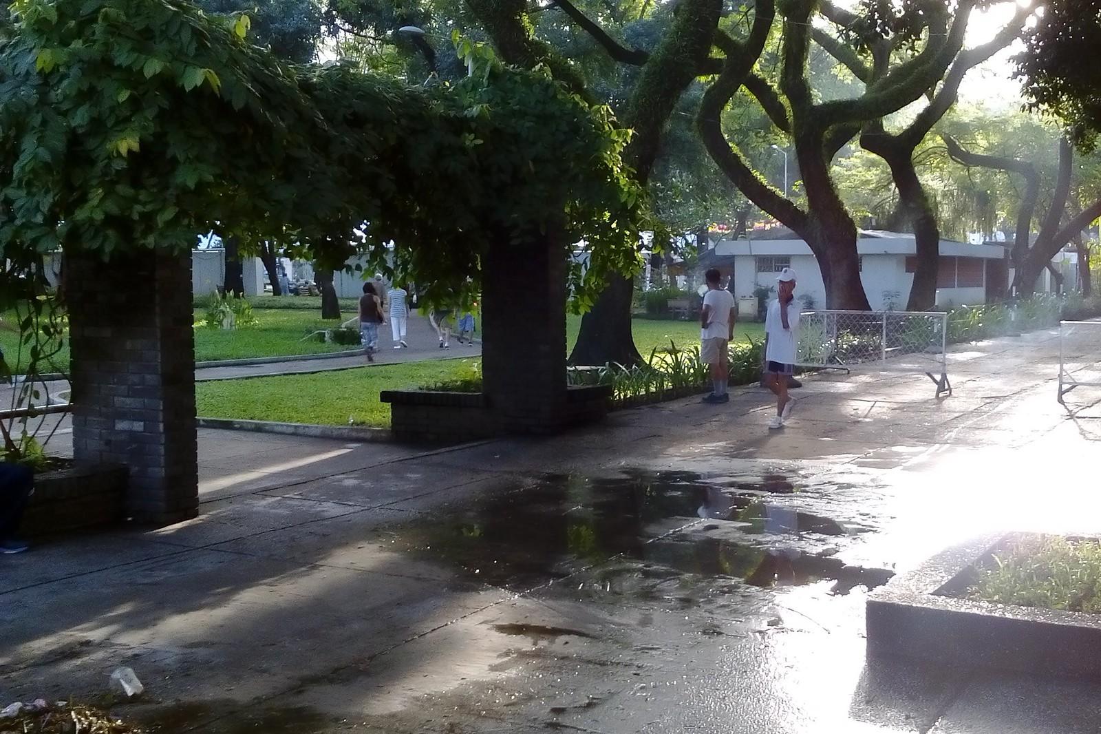 Le Van Tam Park on Monday after rainy Sunday