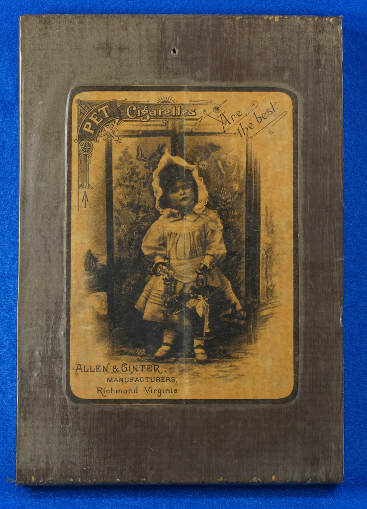 RD14799 Antique PET CIGARETTES Tobacciana Advertising Trade Card Mounted on Wood Board DSC05995