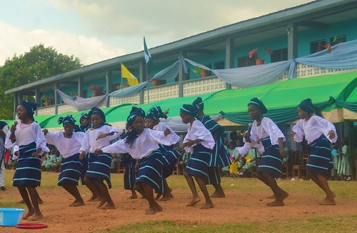 The pupils of St Josephs doing a bata dance at the schools 25th anniversary celebrations